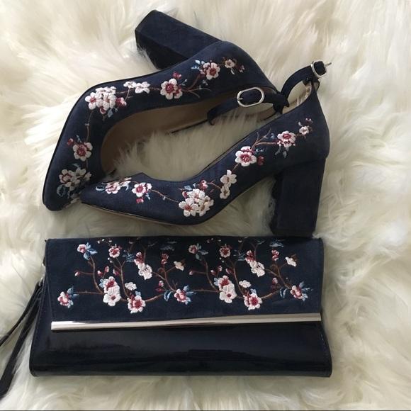 Navy Floral Shoes Bag